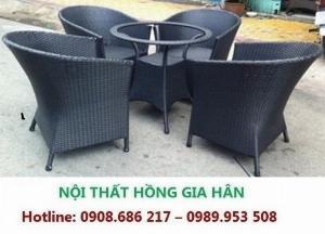 Bàn Ghế Nhựa Giả Mây Cao Cấp Cho Quá Cafe HGH