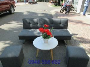 Mua sofa bed giá rẻ tặng kèm bàn + 2 đôn tại Thuận An, mua bàn ghế kiêm giường ngủ 2 trong 1 tại Bình dương
