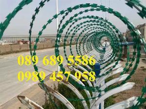 Chuyên bán dây thép gai hình dao bọc PVC, dây gai bọc nhựa 45cm, 60cm