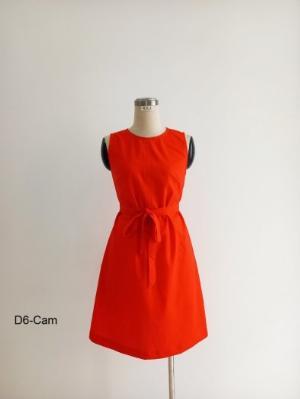 Đầm chữ A màu cam dằn chỉ nổi, cột nơ trước D6-Cam