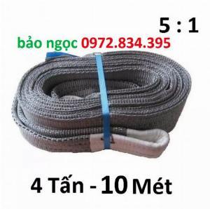Dây Cáp Vải Cẩu Hàng 4 tấn 10 Mét bản dẹp hệ số an toàn 5 : 1 bản 100mm
