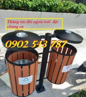 Thùng rác đôi cọc treo có mái che dành cho khu chung cư