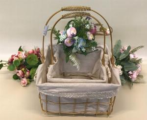 Set 2 giỏ sắt lưới mạ vàng cắm hoa vải tote viền ren có quai xách - PLNK07