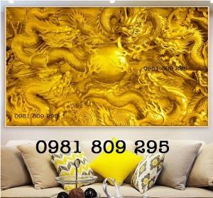 Tranh gạch 3d - mẫu tranh rồng vàng