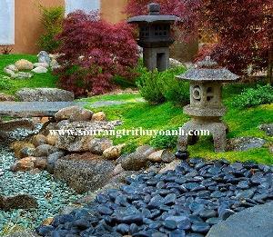 Sỏi trang trí biệt thự sân vườn