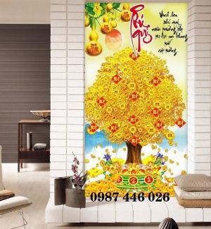 Gạch tranh 3d cây tiền vàng, tranh gạch men HP0484