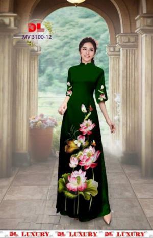 Vải áo dài nhung nhật đính đá MV 3100 của vải áo dài Kim Ngọc
