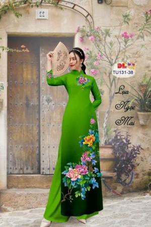 Vải áo dài nhung nhật đính đá TU 131 của vải áo dài Kim Ngọc