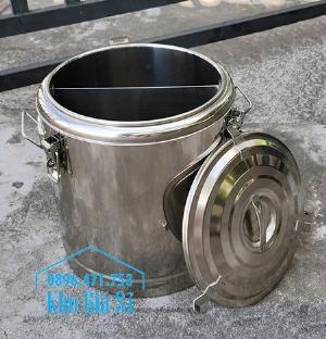 Thùng cách nhiệt 2 ngăn bằng inox 304 đựng thức ăn, vận chuyển thức ăn dung tích 22 lít