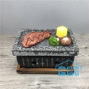 Bếp đá nướng thịt bò Wagyu, bò bít tết tại bàn - Bếp nướng thịt bằng đá kiểu Nhật hình chữ nhật (size trung)