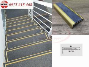 Nẹp nhôm chống trơn cầu thang, nẹp mũi bậc cầu thang chân 12mm