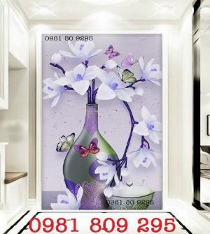Mẫu tranh gạch 3d - tranh bình hoa  siêu đep