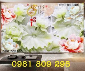 Tranh gạch hoa mẫu đơn - tranh gạch men 3d
