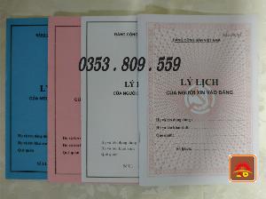 Lý lịch của người xin vào đảng mẫu 2-knđ, bìa trắng, xanh, hồng, bìa màu