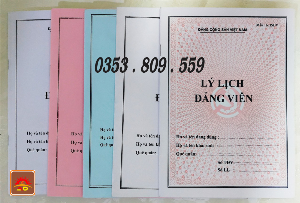 Lý lịch đảng viên  mẫu 1-hsđv, bìa trắng, xanh, hồng, bìa màu