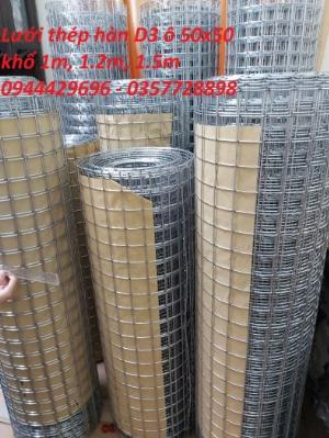 Lưới hàn phi 3 ô 50x50 khổ 1m, 1,2m, 1,5m mạ kẽm  hàng sẵn kho