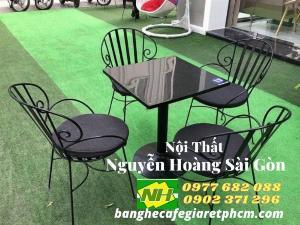 Bộ bàn ghế sắt cafe bàn mâm giá rẽ