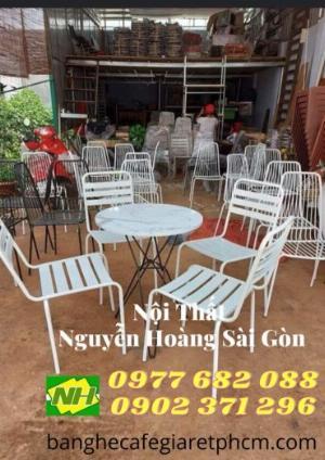 Bộ bàn ghế sắt Sơn trắng caffe giá rẻ