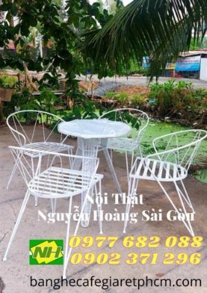 Bộ bàn ghế sắt Sơn trắng sân vườn giá rẻ
