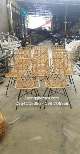 Ghế mây kết hợp chân sắt, ghế ăn mây tre sản xuất bởi Xưởng ghế mây