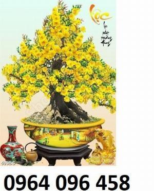 Tranh 3d - tranh gạch 3d cây mai - QKH55