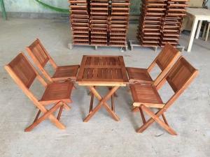 Bộ bàn ghế gỗ xếp mini cà phê giá rẻ