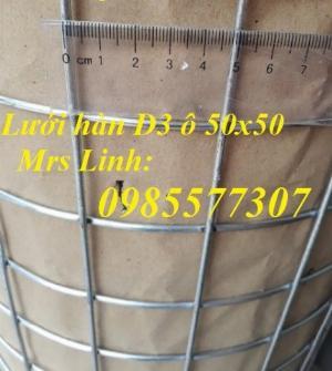 Lưới thép hàn mạ kẽm D3 a50x50, D4 a50x50 hàng sẵn kho