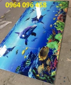 Tranh cá heo đại dương - tranh gạch 3d đàn cá đại dương - NM09