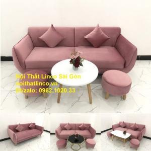 Bộ ghế sofa băng văng 1m9 màu hồng phấn đẹp rẻ sang trọng hiện đại Nội thất Linco Sài Gòn