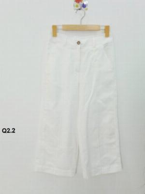 Quần lửng nữ ống suông nền trắng trơn thời trang tự thiết kế Q2.2
