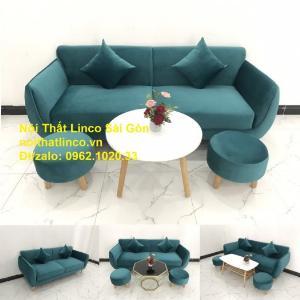 Bộ ghế salon sopha xanh cổ vịt giá rẻ | salong xanh lá cây phòng khách đẹp | Nội thất Linco Sài Gòn