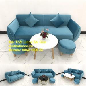 Bộ ghế sofa băng 1m9 xanh dương nước biển | sopha giá rẻ xanh dương da trời đẹp | Linco Sài Gòn
