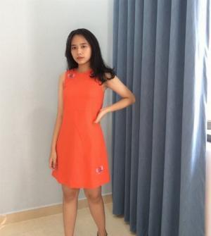 Đầm suông màu cam thêu hình bươm bướm thời trang tự thiết kế D8.3
