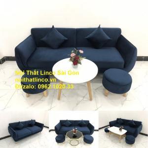Bộ bàn ghế sofa băng văng 1m9 xanh dương đậm giá rẻ Nội thất Linco Sài Gòn