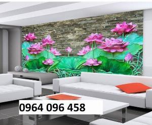 Tranh hoa sen - tranh gạch hoa sen ốp tường 3d - CV43