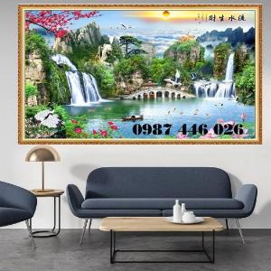 Gạch tranh tường 3d phòng khách HP6900