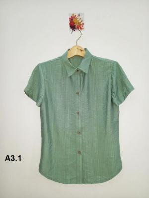 Áo sơ mi nữ ngắn tay màu xanh trơn thời trang tự thiết kế A3.1