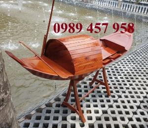 Đóng thuyền gỗ ba lá 3m, Thuyền 3,5m, Thuyền trang trí 4m theo yêu cầu