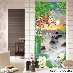 Tranh dán tường-tranh hoa sen