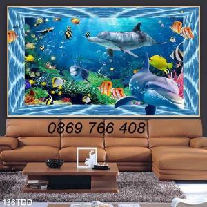 Tranh dán tường-Tranh cá heo 3D