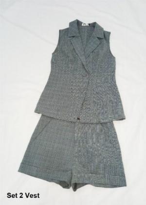 Bộ Vest sát nách quần ngắn sọc caro nữ thời trang tự thiết kế - Set 2 Vest