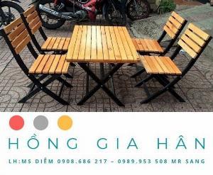 Cần Thanh Lý 50 Bộ Bàn Ghế Gỗ Hồng Gia Hân Bgg76_Bàn Quán Nhậu