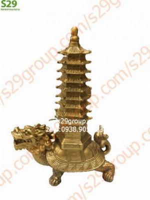 Rùa đầu rồng cõng tháp văn xương phong thủy cao 17cm,linh vật phong thủy bằng đồng