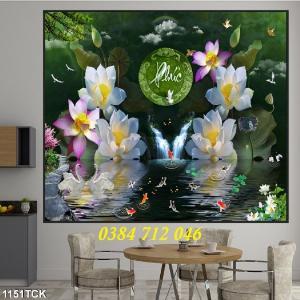 Tranh gạch men trang trí tường, tranh hoa sen treo phòng