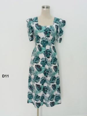 Đầm cổ vuông xếp li tay thời trang tự thiết kế - D11