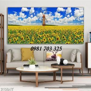 Gạch tranh vườn hoa hướng dương- tranh trang trí tường
