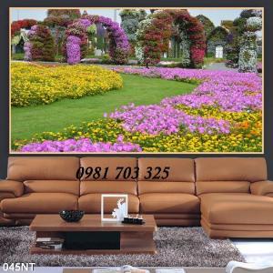 Tranh 3D vườn hoa đẹp trang trí phòng- tranh gạch men 3D