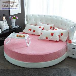 Giường tròn công chúa màu hồng cho các bé gái