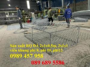 Nhà máy làm rọ đá mạ kẽm 1x1x2m, Rọ đá bọc chống sạt lở 2x1x0,5m