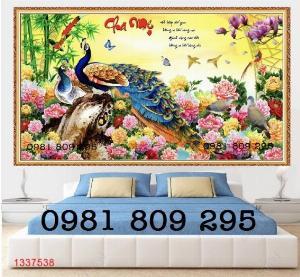 Tranh chim công - gaachj tranh 3d ốp phòng ngủ - tranh giá rẻ